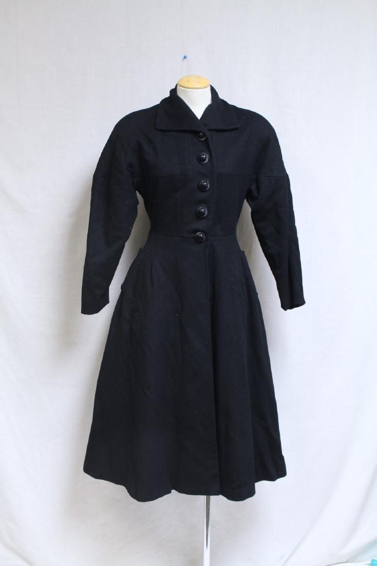 Vintage 1950s Black Wool Princess Coat
