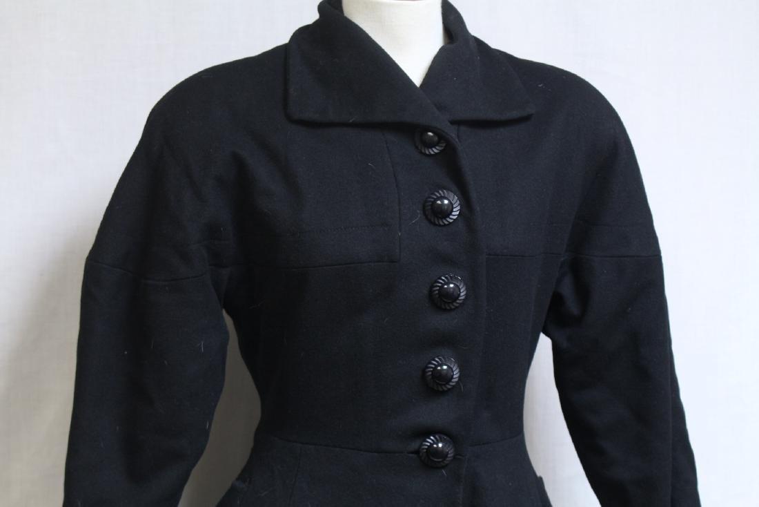 Vintage 1950s Black Wool Princess Coat - 2