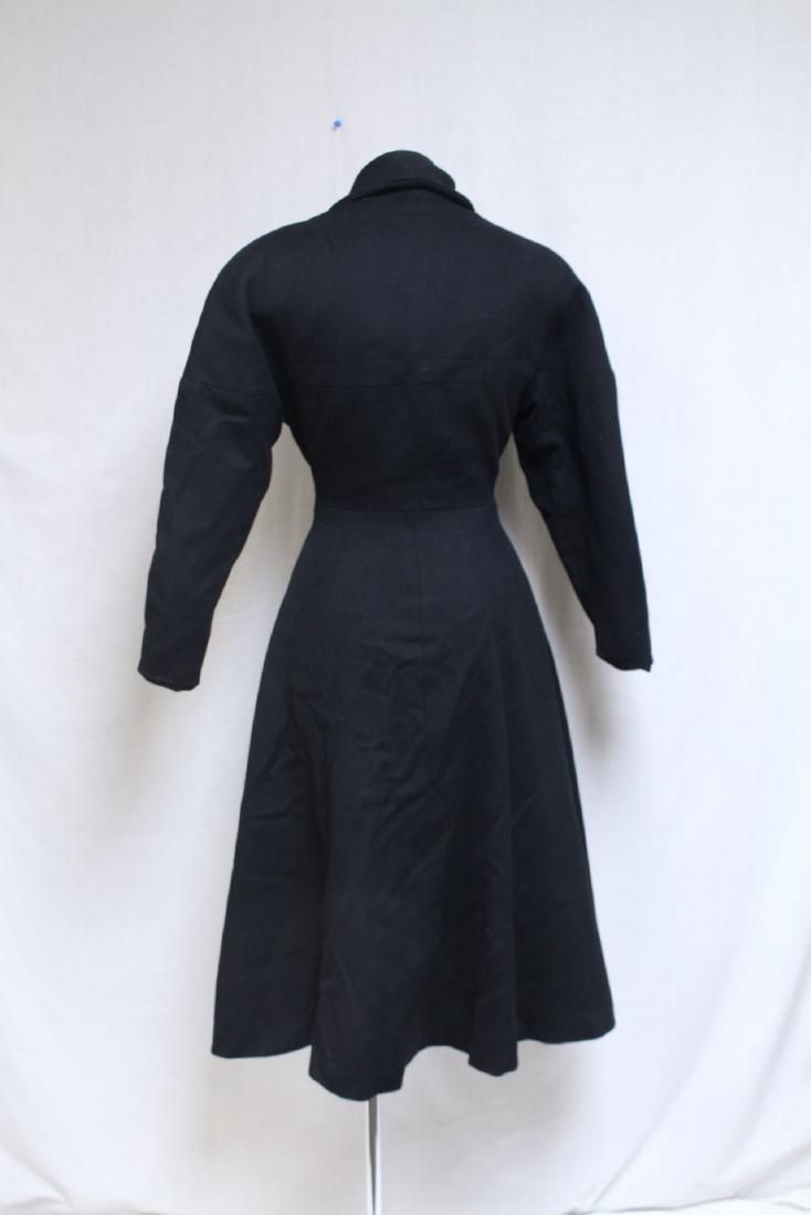 Vintage 1950s Black Wool Princess Coat - 3