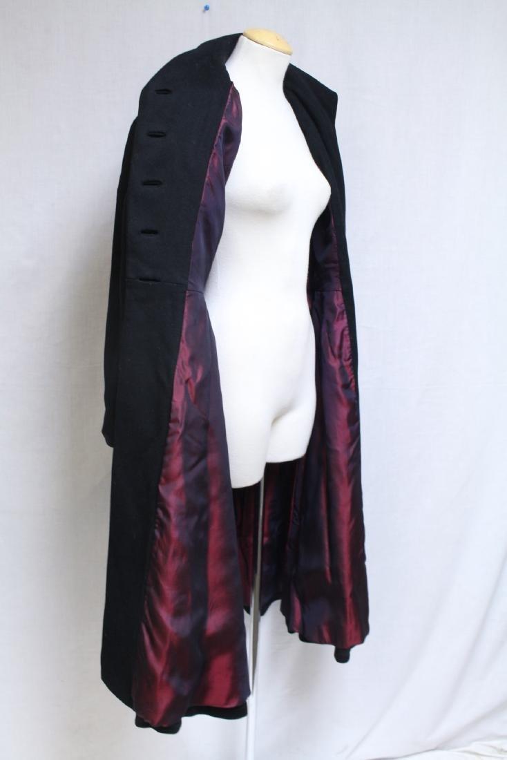 Vintage 1950s Black Wool Princess Coat - 4
