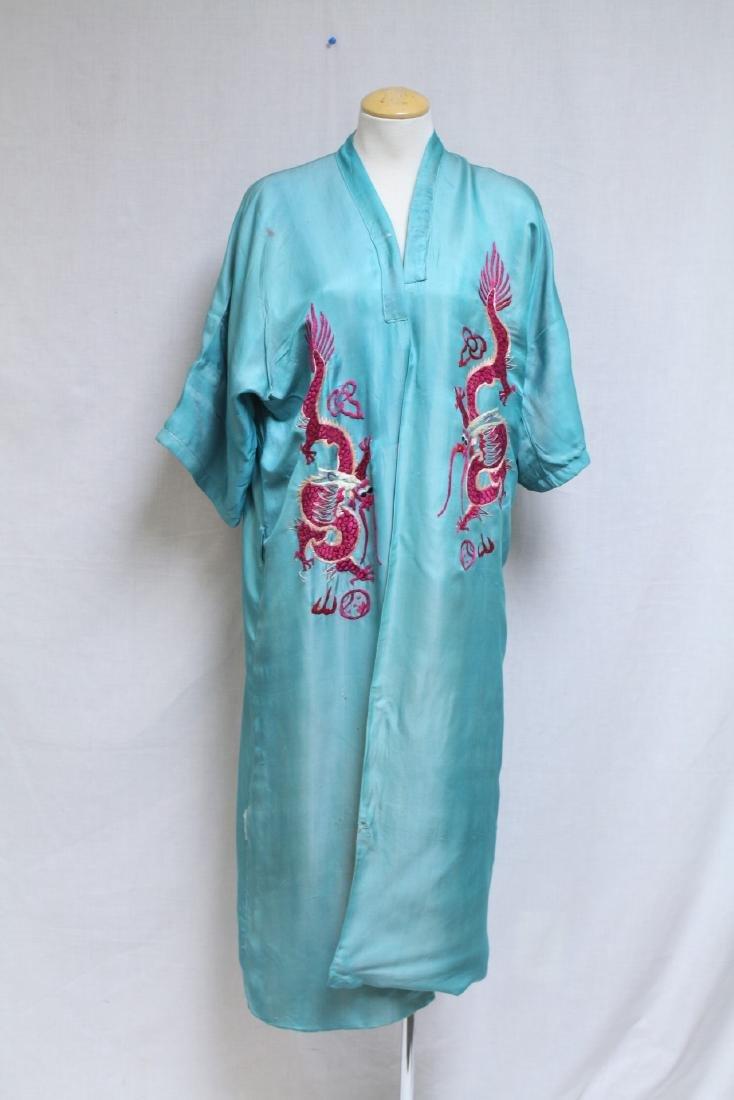 Vintage 1940s Reversible Embroidered Kimono Robe