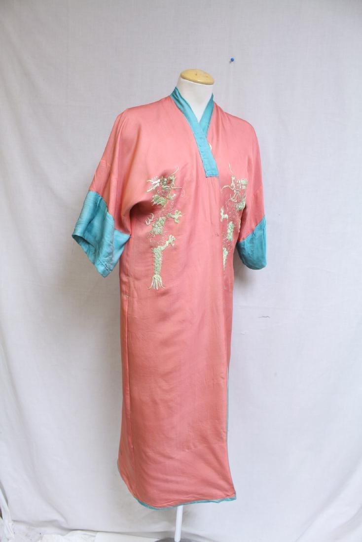 Vintage 1940s Reversible Embroidered Kimono Robe - 9