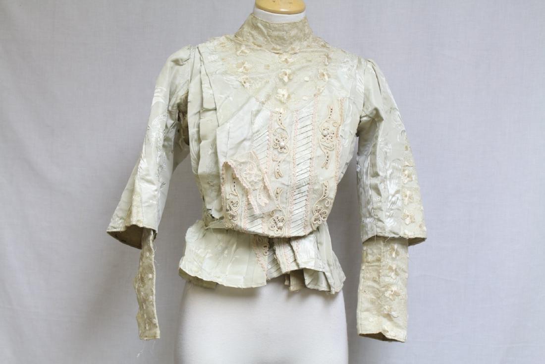 Vintage 1800s Silk & Lace Bodice