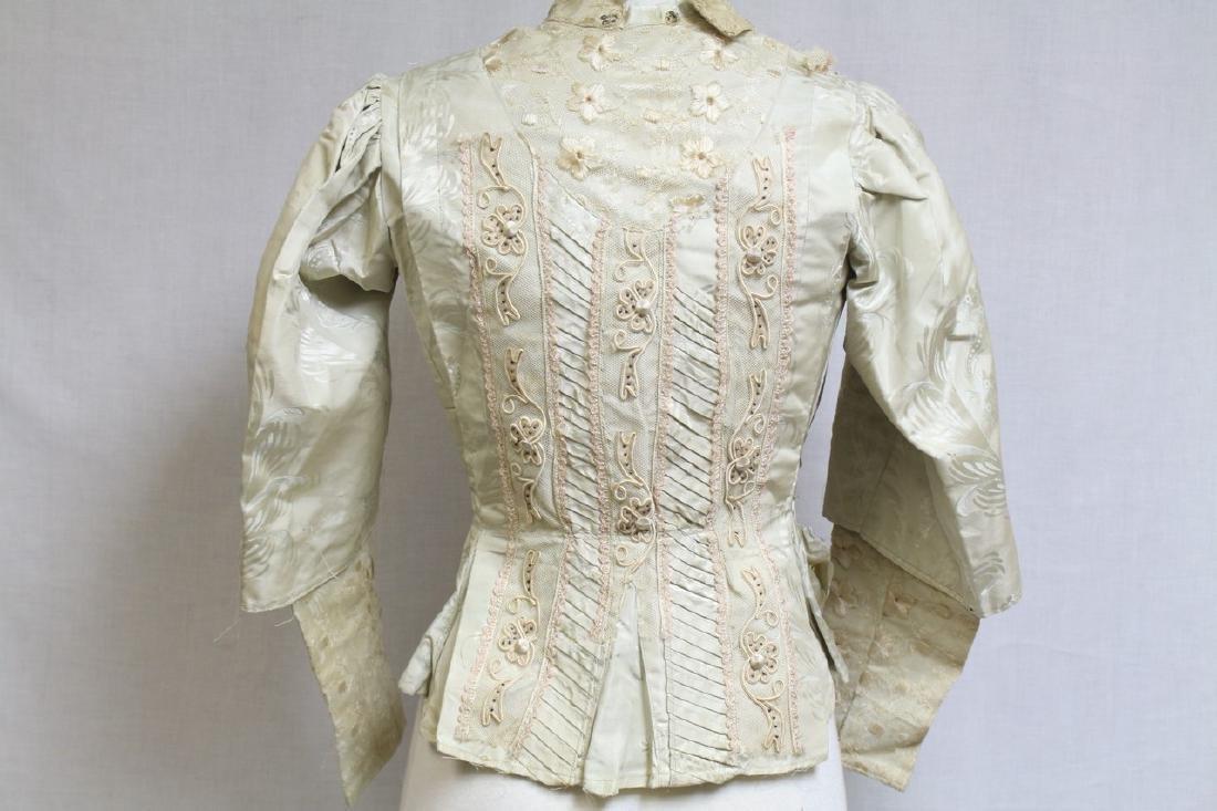 Vintage 1800s Silk & Lace Bodice - 4