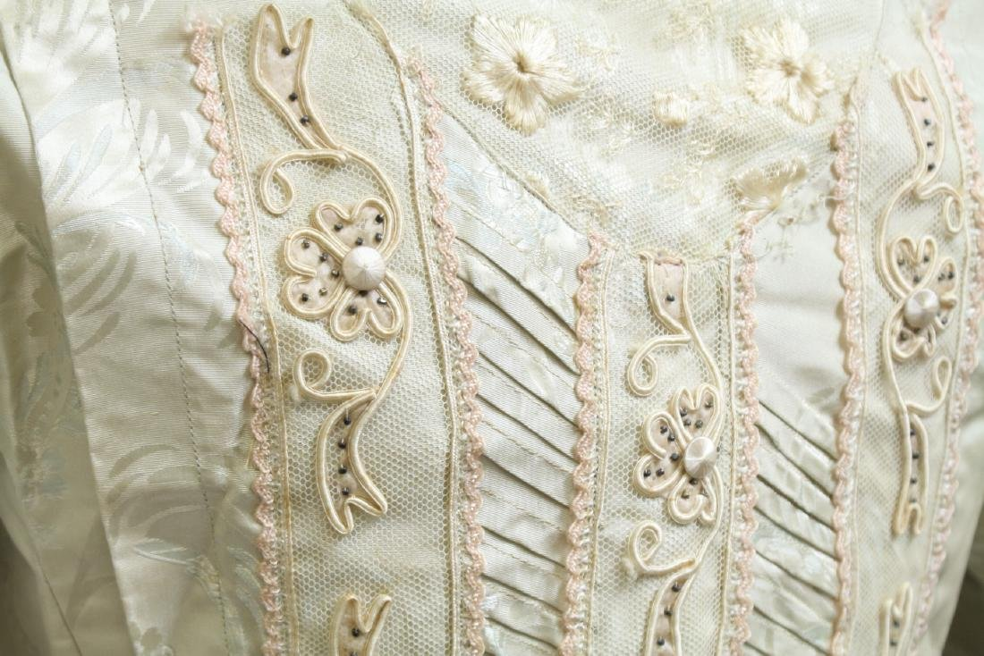 Vintage 1800s Silk & Lace Bodice - 5