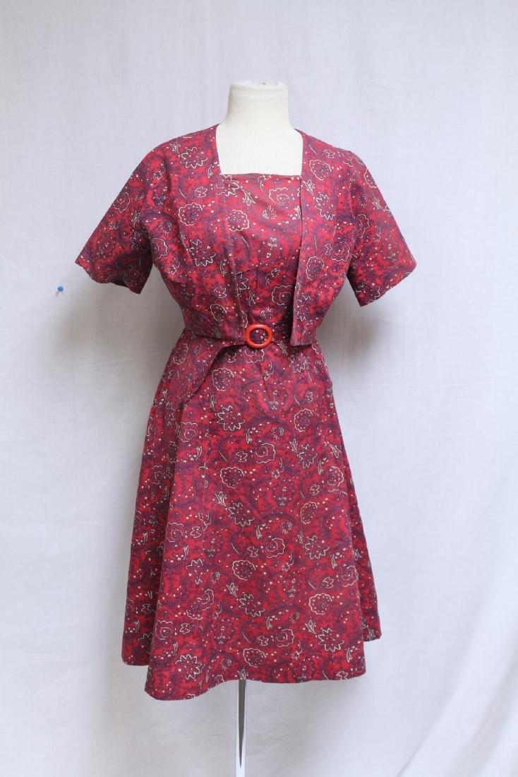 Vintage 1940s Red Floral Dress & Jacket
