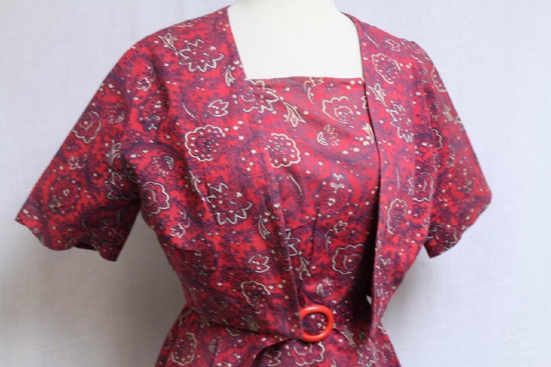 Vintage 1940s Red Floral Dress & Jacket - 2