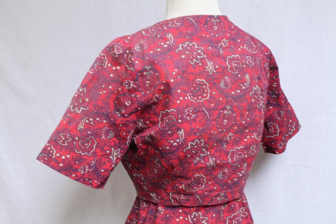 Vintage 1940s Red Floral Dress & Jacket - 3