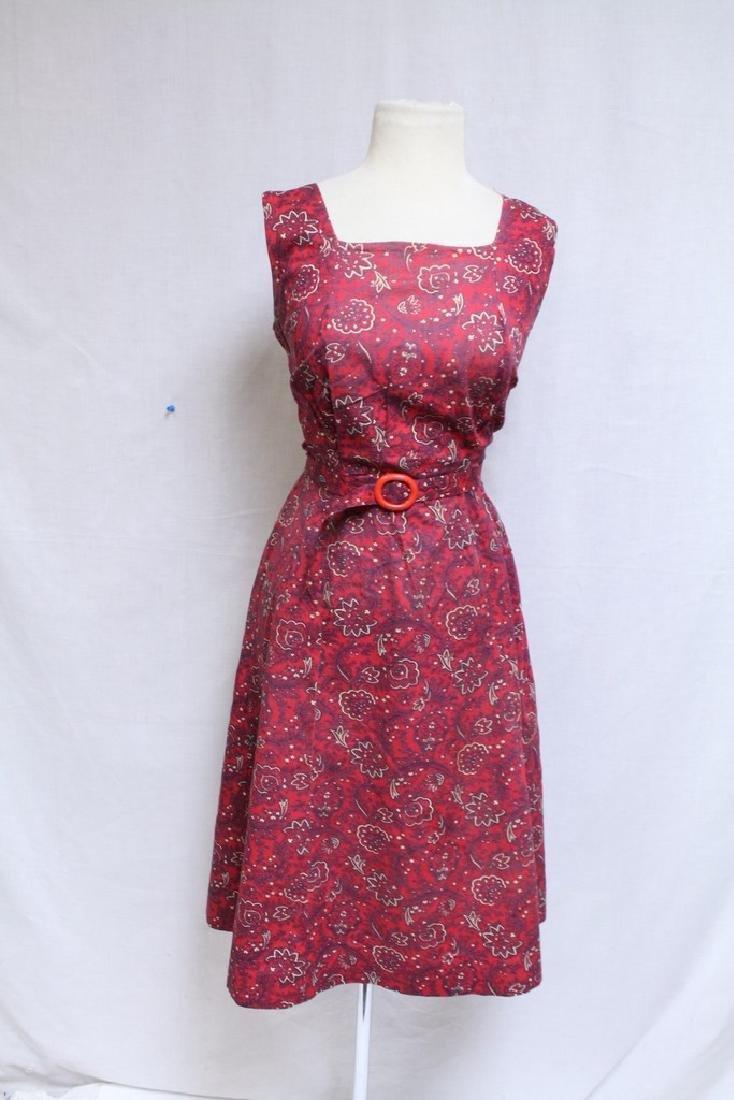 Vintage 1940s Red Floral Dress & Jacket - 4