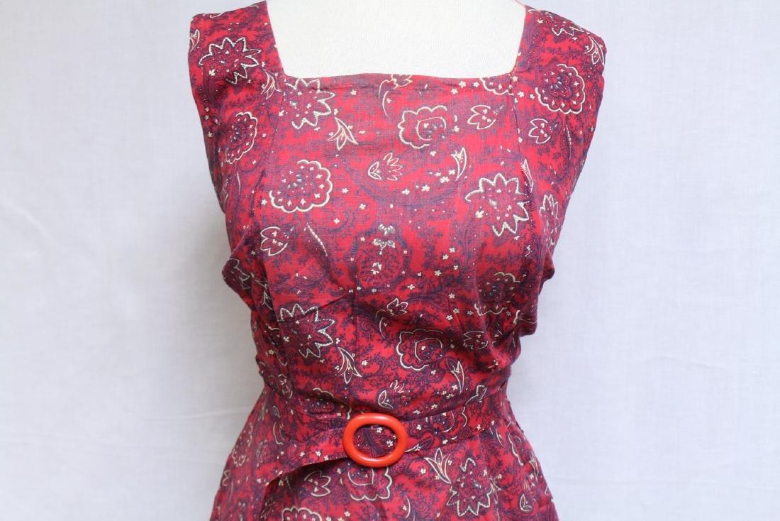 Vintage 1940s Red Floral Dress & Jacket - 5