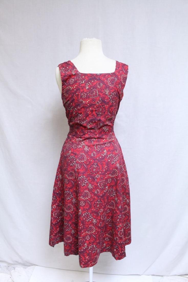 Vintage 1940s Red Floral Dress & Jacket - 6