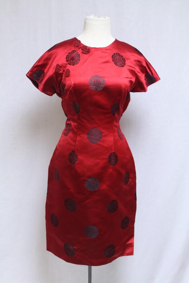 Vintage 1970s Red & Black Cheongsam Dress