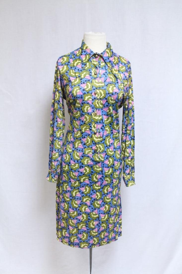 Vintage 1970s Leonard Tuttman Novelty Print Dress