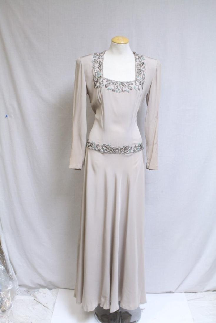 Vintage 1940s Beige Beaded Gown