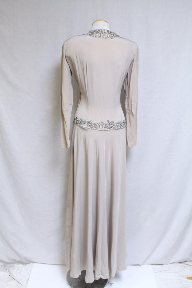 Vintage 1940s Beige Beaded Gown - 5