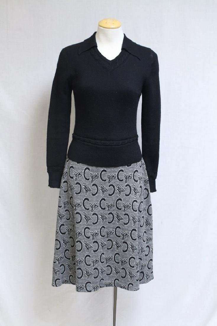 Vintage 1970s Horseshoe Knit Dress