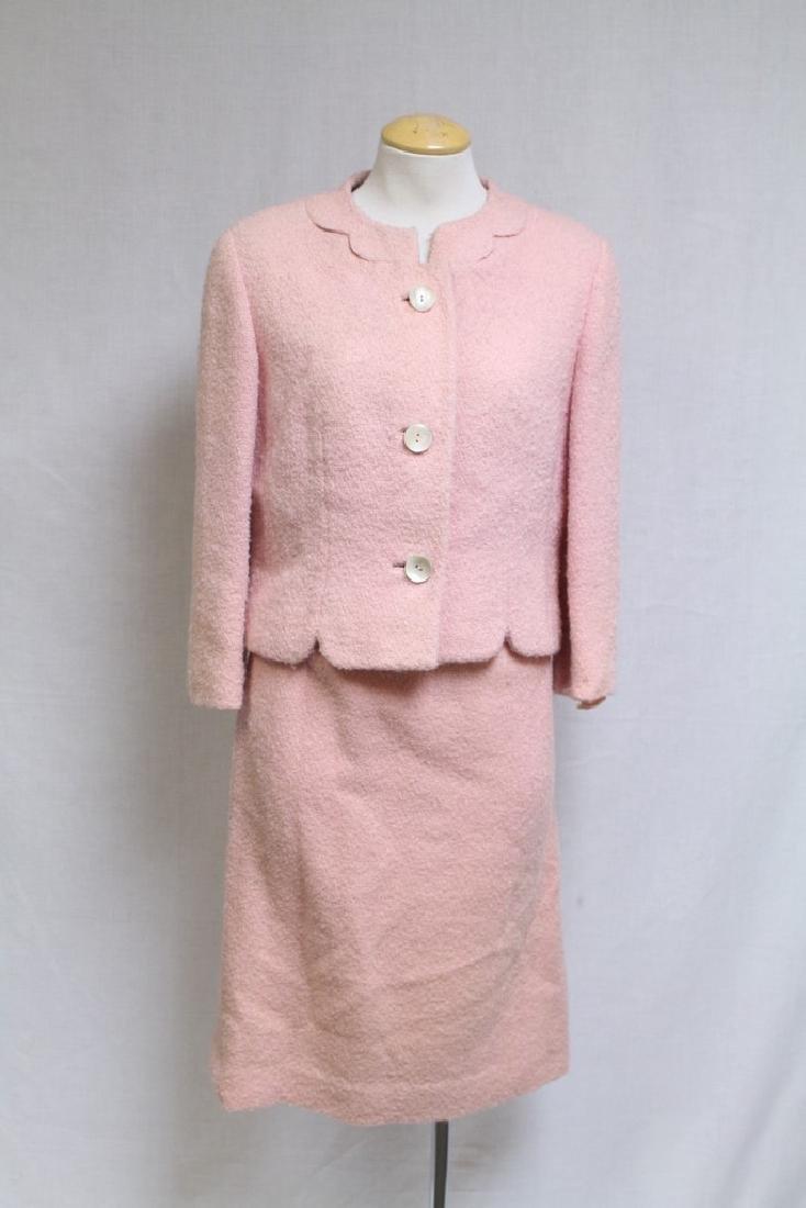Vintage 1960s Pink Boucle Best & Co Suit