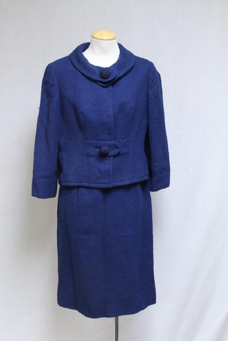 Vintage 1960s Paul Parnes Blue Wool Suit