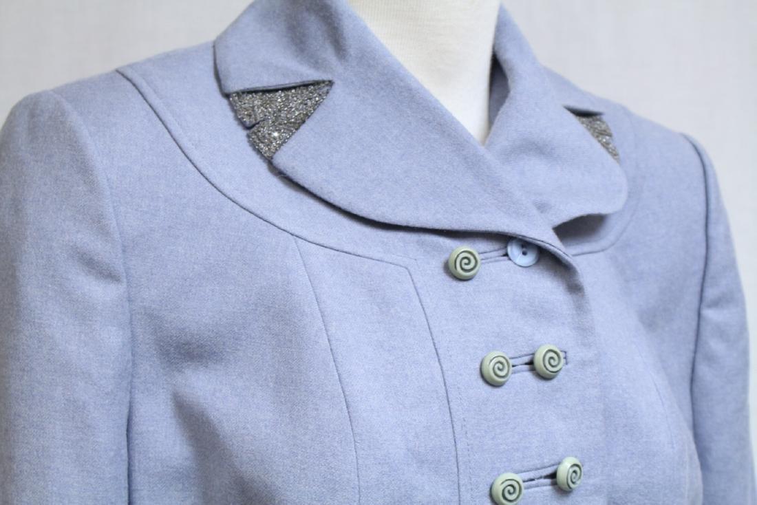 Vintage 1950s Light Blue Wool Jacket - 2