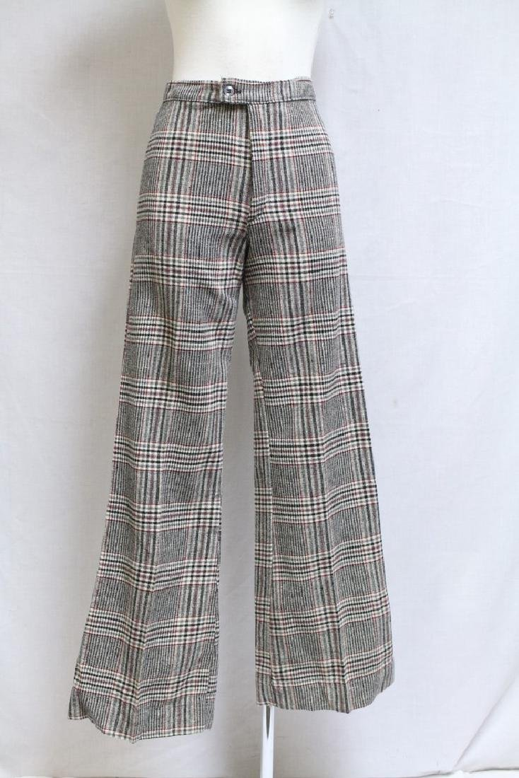 Vintage 1970s Plaid Wool Bell Bottoms