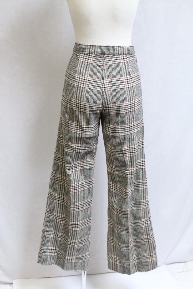 Vintage 1970s Plaid Wool Bell Bottoms - 3
