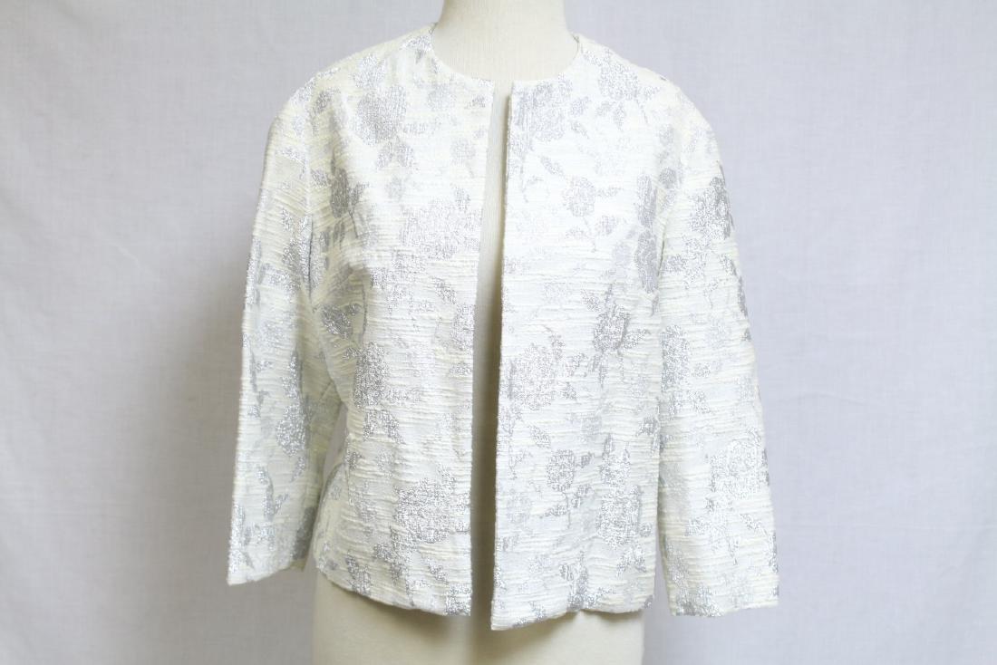 Vintage 1960s Silver & White Floral Jacket
