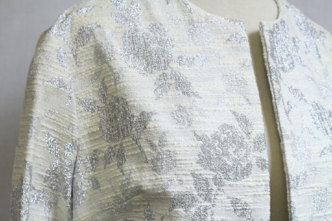 Vintage 1960s Silver & White Floral Jacket - 2