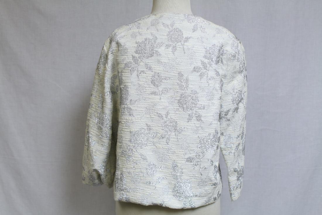 Vintage 1960s Silver & White Floral Jacket - 3