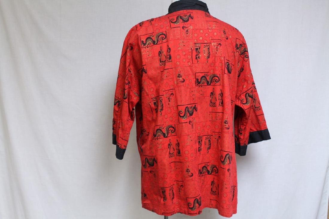 Vintage 1970s Men's Red Asian Dragon Robe - 4
