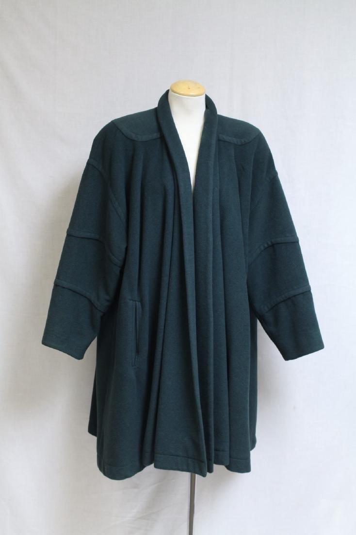 Vintage 1990s Green Wool Swing Coat