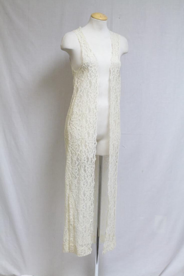 Vintage 1990s Ivory Lace Duster Vest