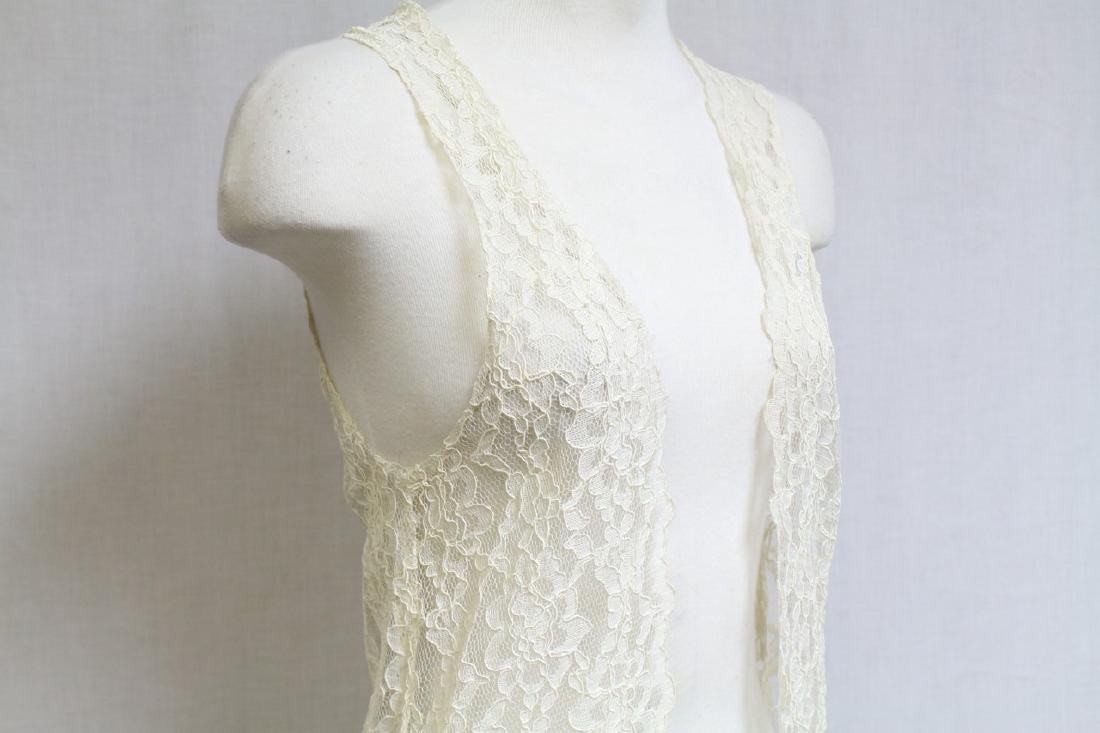 Vintage 1990s Ivory Lace Duster Vest - 2