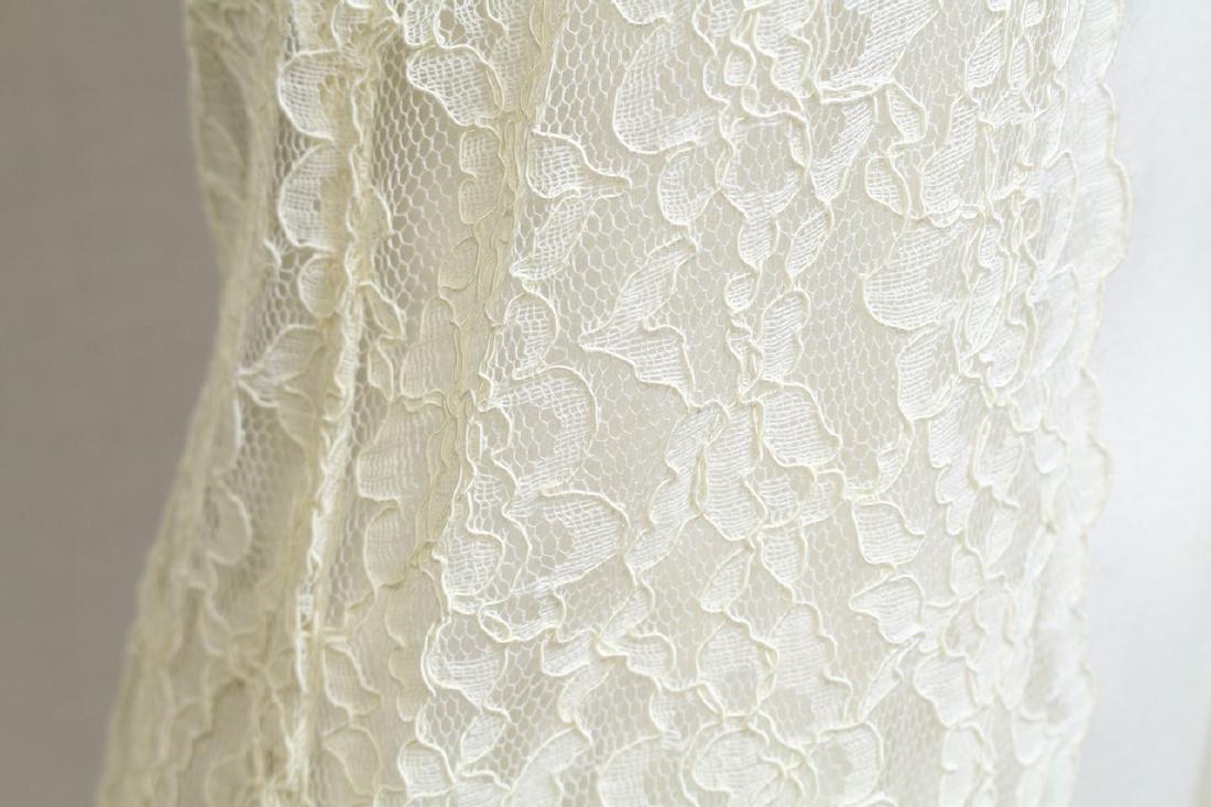 Vintage 1990s Ivory Lace Duster Vest - 3