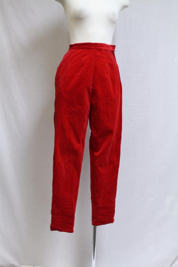 Vintage 1960s Red Velveteen Pants