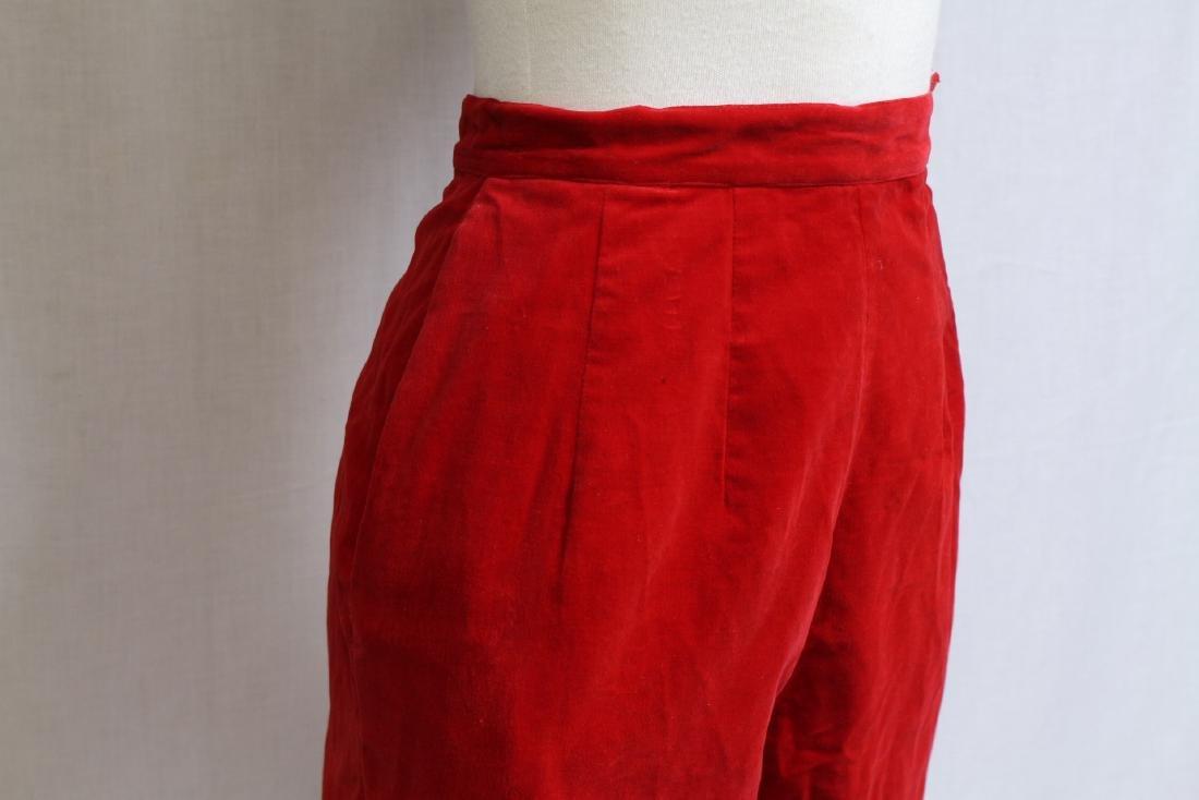 Vintage 1960s Red Velveteen Pants - 2