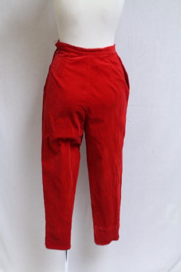 Vintage 1960s Red Velveteen Pants - 3