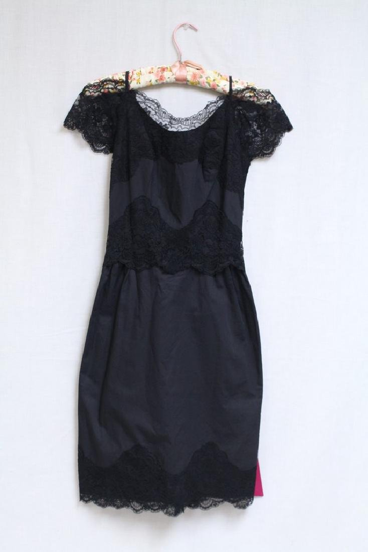 Vintage 1960s Black Lace Trim Dress