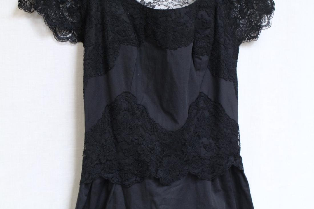 Vintage 1960s Black Lace Trim Dress - 3