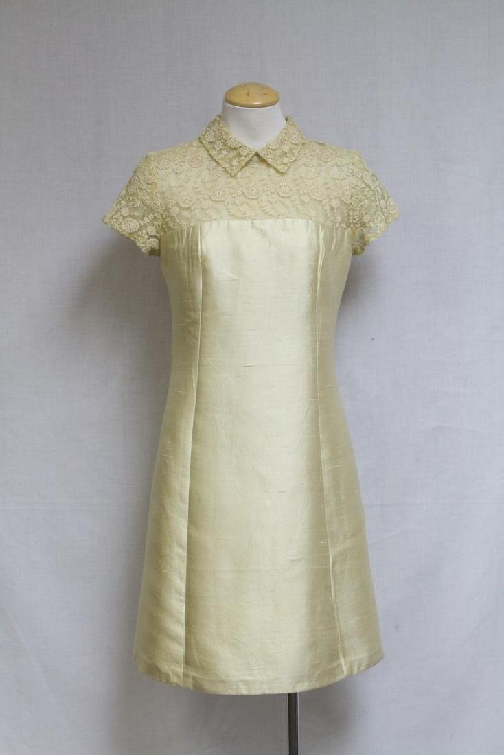 Vintage 1960s Yellow Tambour Lace Dress