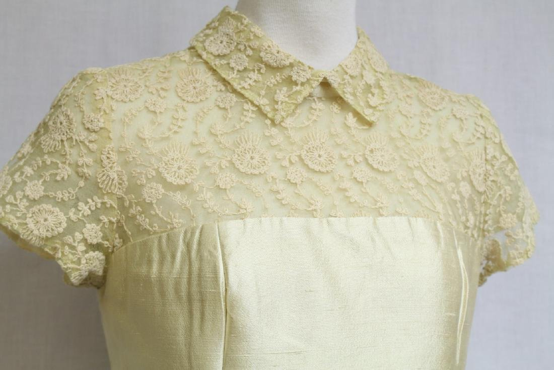 Vintage 1960s Yellow Tambour Lace Dress - 2