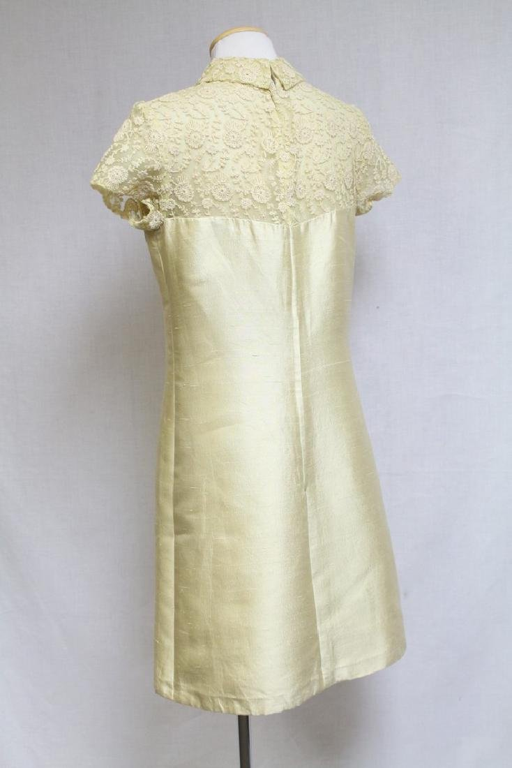 Vintage 1960s Yellow Tambour Lace Dress - 5