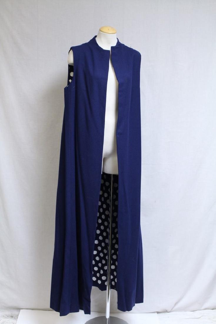 Vintage 1970s Navy Blue & Polka Dot Duster Vest