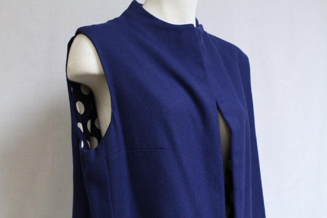 Vintage 1970s Navy Blue & Polka Dot Duster Vest - 2