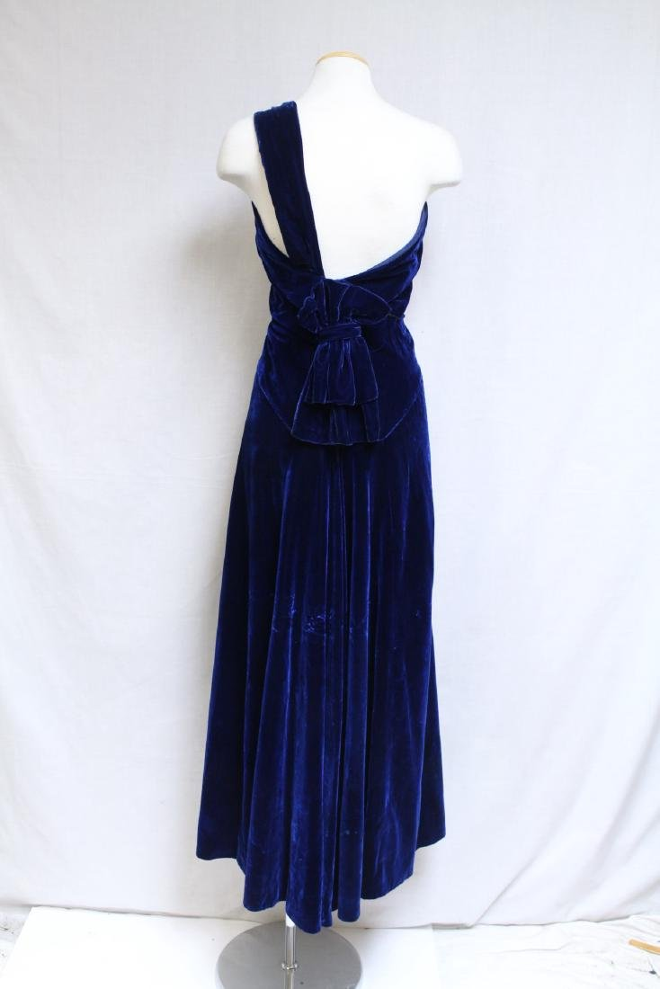 Vintage 1940s Saks Fifth Ave Velvet Gown - 3