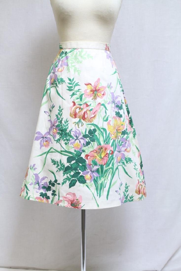 Vintage 1980s Margaret Smith Floral A-line Skirt