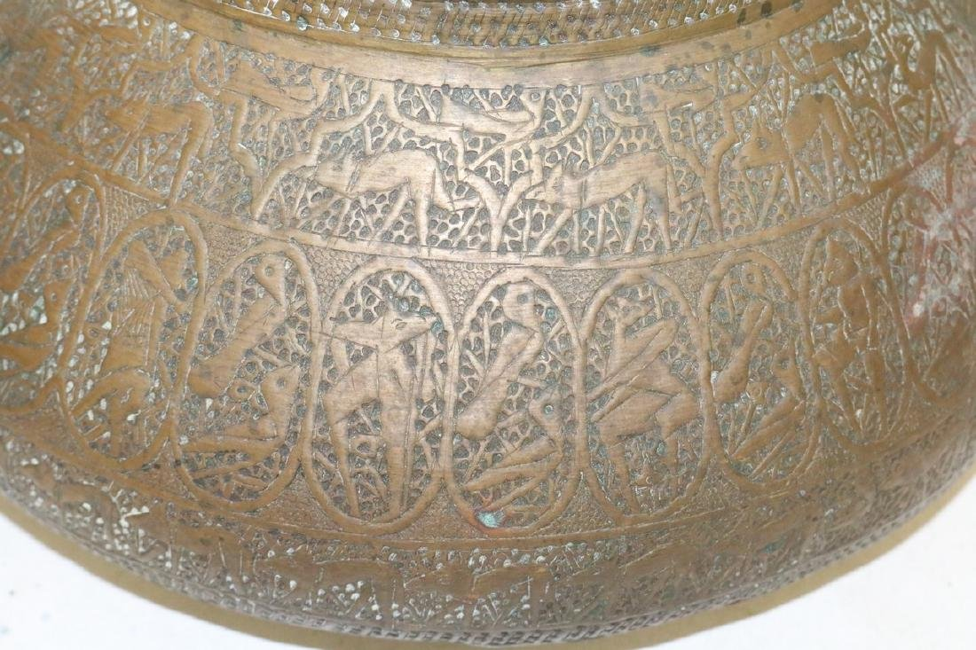Asian Brass Hand Carved Vase - 3