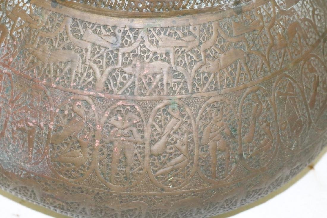 Asian Brass Hand Carved Vase - 4