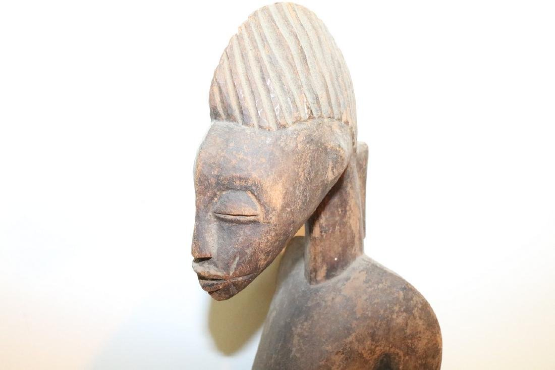 Hand Carved African Statue, seated Man - 2