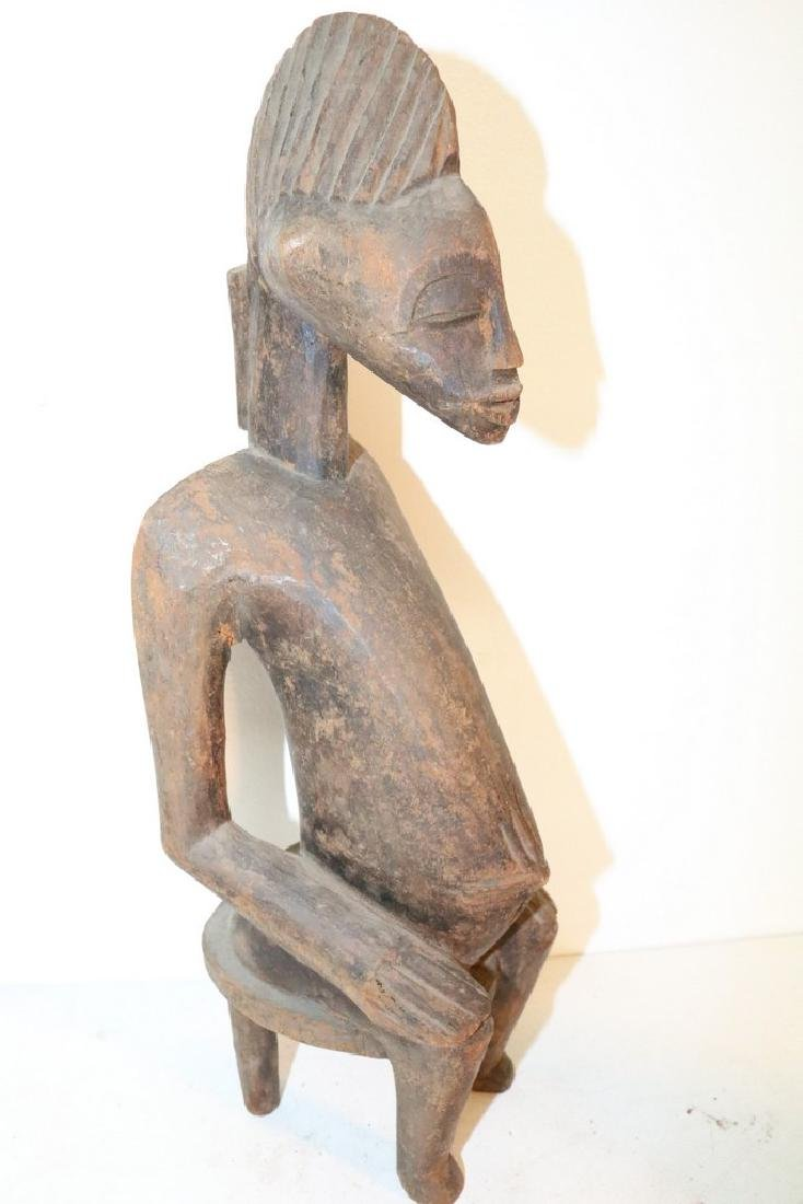 Hand Carved African Statue, seated Man - 3