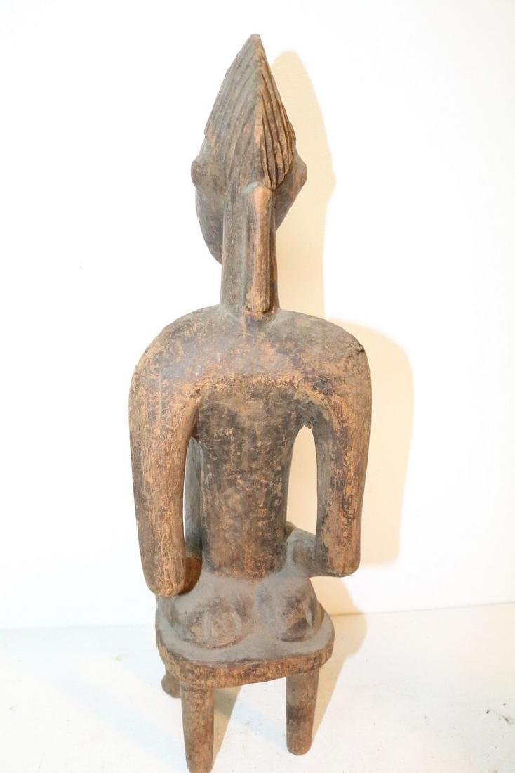 Hand Carved African Statue, seated Man - 5
